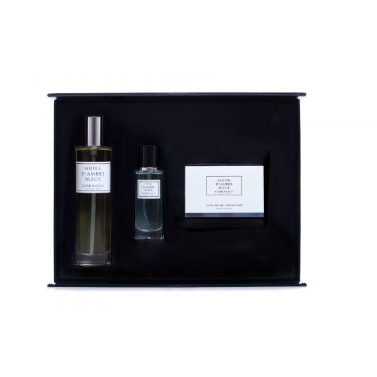 GEMOLOGY Ambre Blue soap, eau de parfum en body oil
