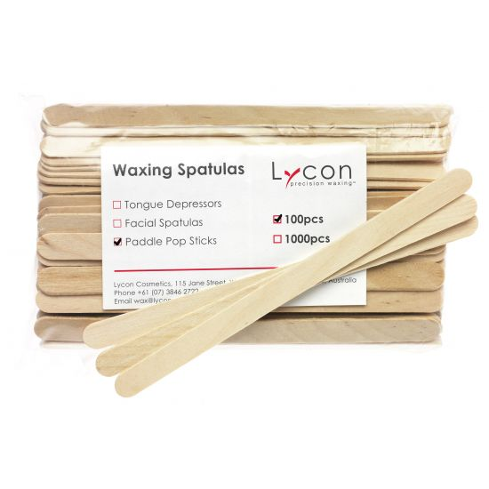 LYCON Paddle Pop Sticks - houten wax spatel half